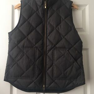 J. Crew quilted Puffer Vest Charcoal Grey